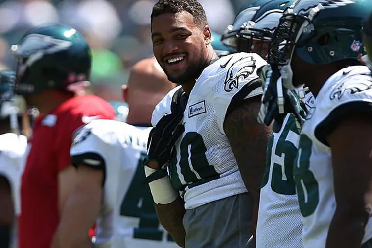Marcus Smith smiles during Eagles Training Camp. (David Maialetti/Staff Photographer)