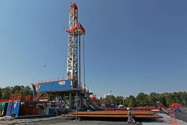 A shale-gas drilling rig in Susquehanna County.