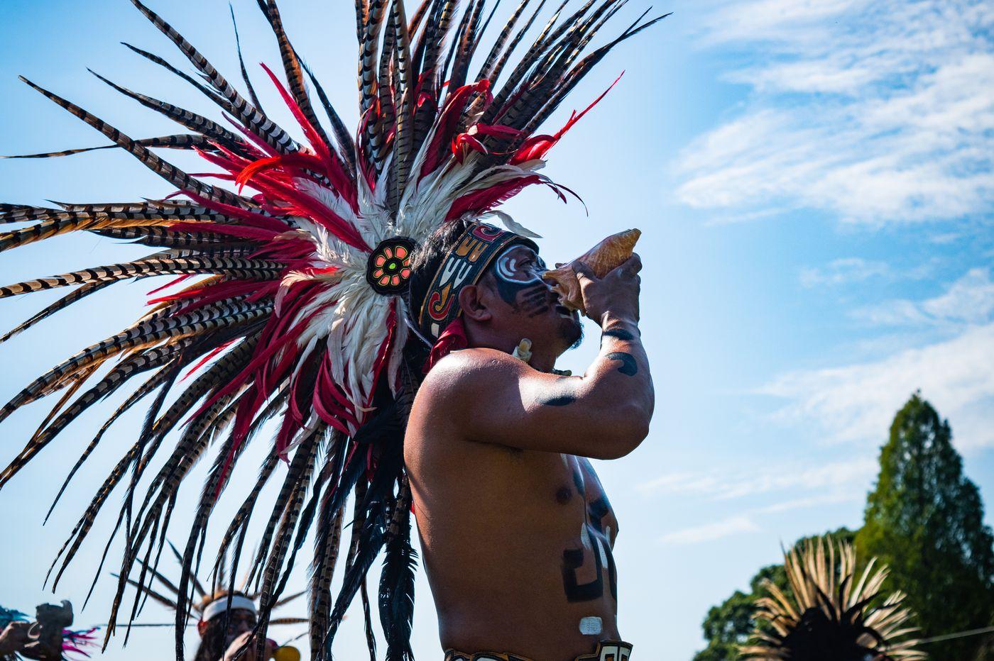 Traditional Aztec dance honors the great fallen 'Charter Oak' at Methacton Mennonite Church