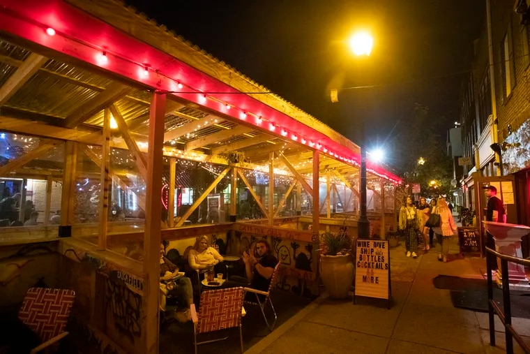The outdoor dining area at the Wine Dive at 1506 South St. on Sept. 10, 2021.