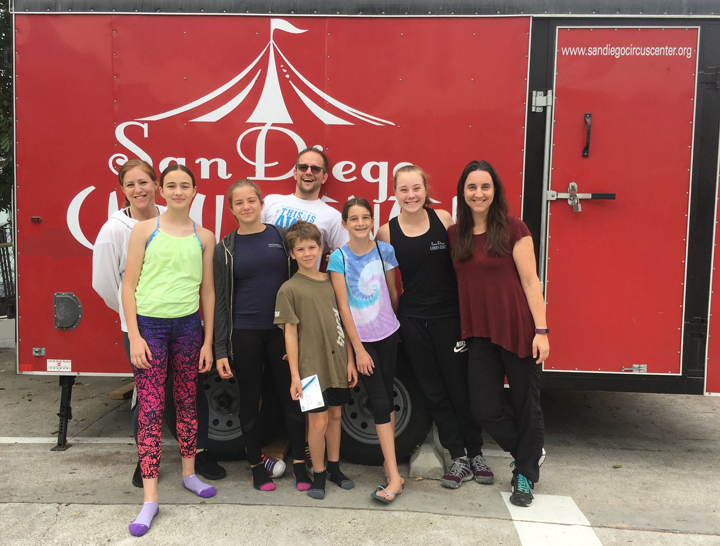 Representatives from the Philadelphia School of Circus Arts included (from left) coach Karen Ladd, Gretta Maguire, Mara Sell, coach Adam Woolley, Jonas Sell, Isa Kennedy, Bronyn Mazlo, and parent Shana Kennedy.