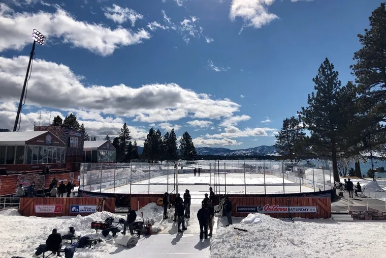 A view of the rink at Lake Tahoe where the Flyers will play the Bruins on Sunday, now later in the day than originally scheduled.