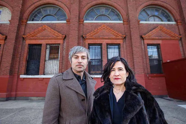 Darren and Ashley de Vries, in front of the Tacony Savings Bank, which they purchased and are renovating. The bank is located on Longshore Avenue, in the Tacony neighborhood in Philadelphia.