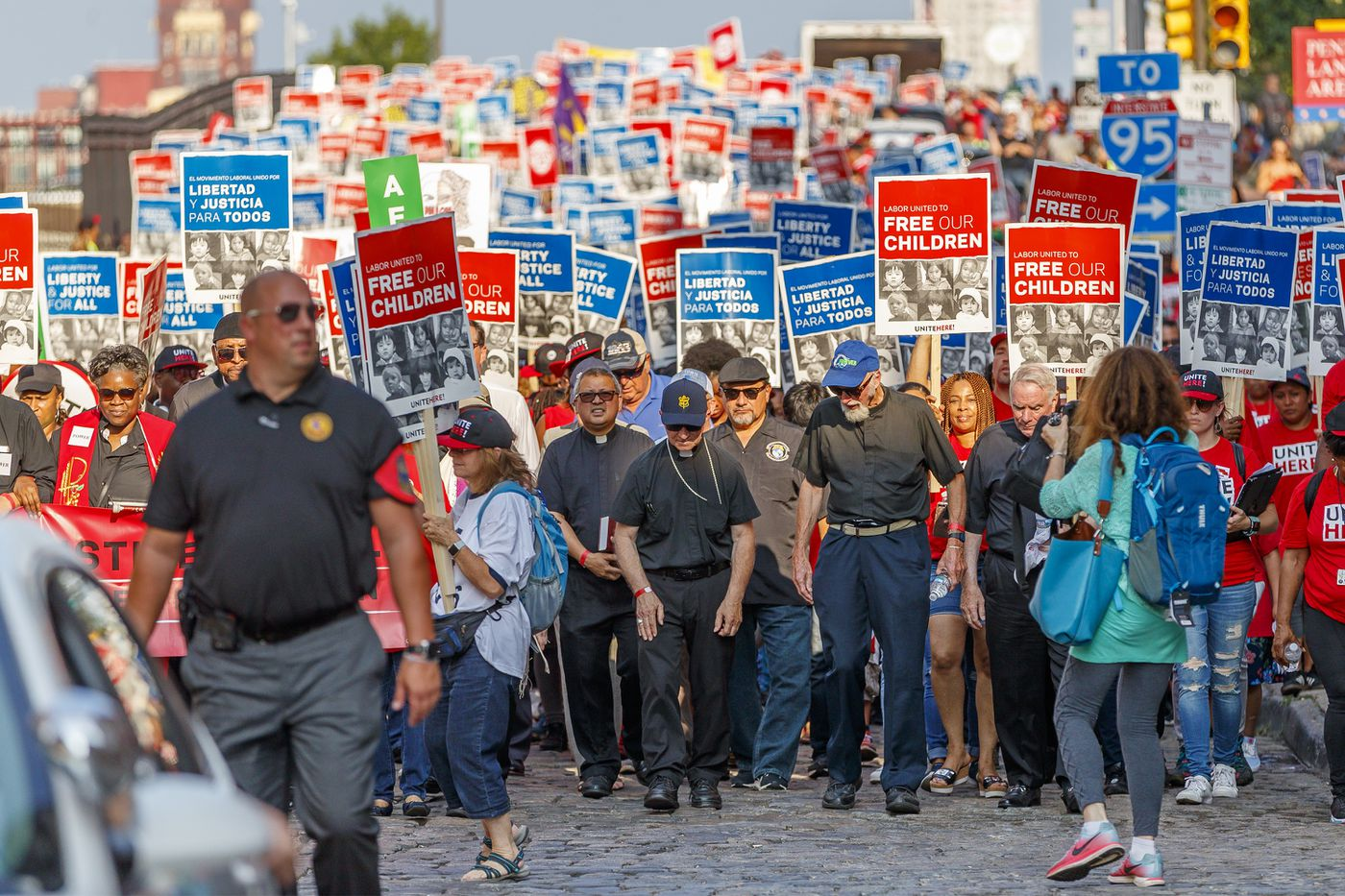 A smaller but vocal crowd speaks up at Philly labor rally to support immigrant children