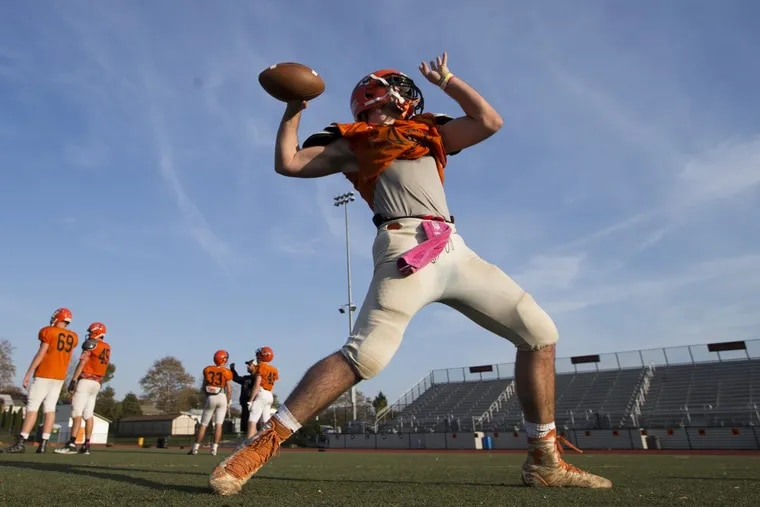 Marple Newtown quaterback Anthony Paoletti is shown during practice on Nov. 2, 2016.