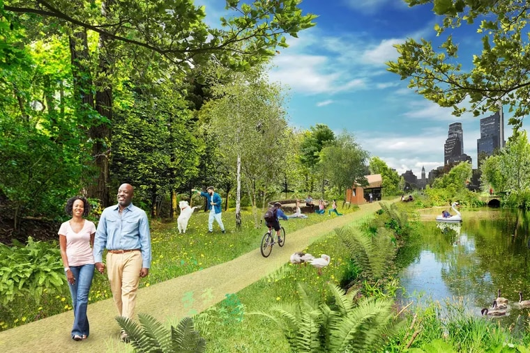 The Dutch firm MVRDV wants to naturalize the Parkway with urban forests and community gardens.