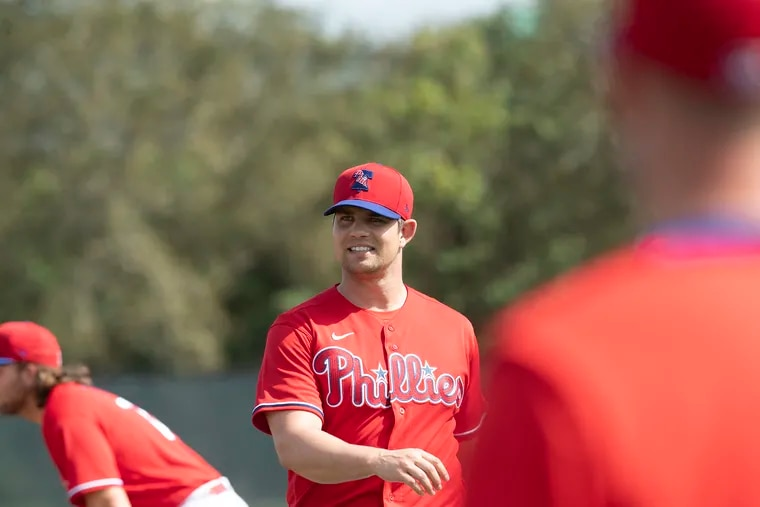 Phillies pitcher Robert Stock during spring training in Clearwater, Fla.
