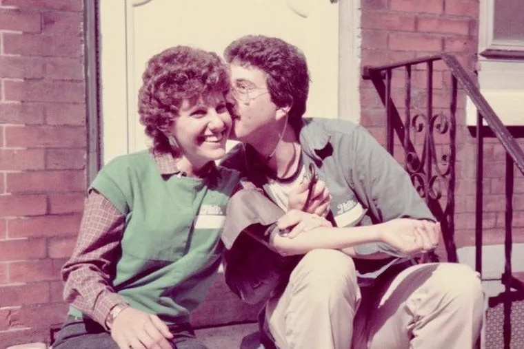 Joyce and Ted Eisenberg on their stoop at 2417 Meredith St. in Fairmount in 1984 during the street's block party.
