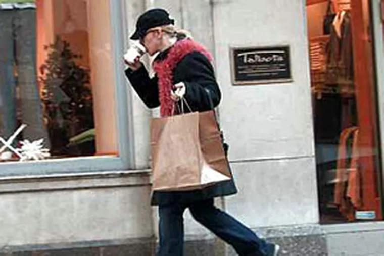A shopper braves the last-minute rush.