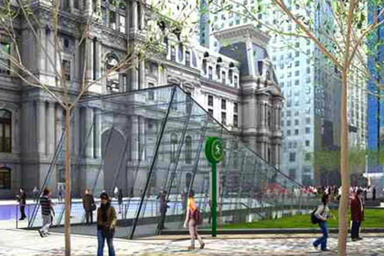 A rendering of the revised plaza shows one of the two swooping glass headhouses leading to the proposed transit room. (KieranTimberlake and Olin)