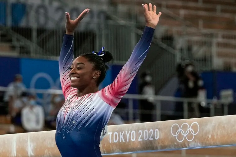 Gymnast Simone Biles of Team United States prepares to compete in the Tokyo 2020 Olympic Games Women's Gymnastics Balance Beam Final on Tuesday, August 3. Biles won the bronze medal. MUST CREDIT: Washington Post photo by Toni L. Sandys