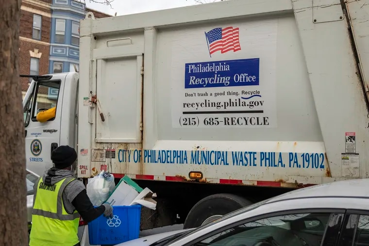 Recycling is collected on the 4300 block of Walnut in West Philadelphia.
