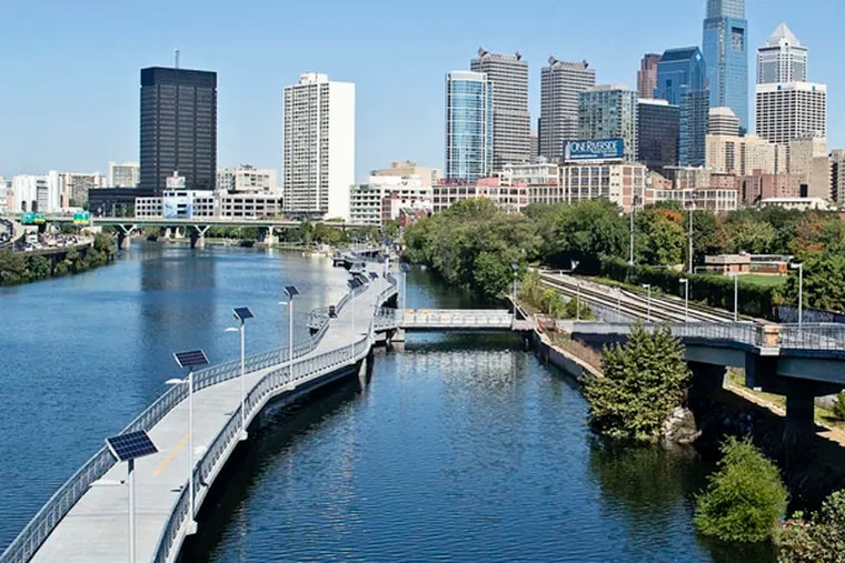 The Schuylkill Banks boardwalk, which extends the river trail from Locust Street to the South Street Bridge, is slated to open in October.  Photo taken September 26, 2014.