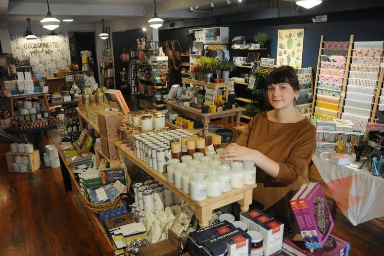 Sara Villari, owner of  Occasionette in Collingswood, NJ and elsewhere, a  (2019 Philadelphia100 award winner. She's in her Collingswood store.