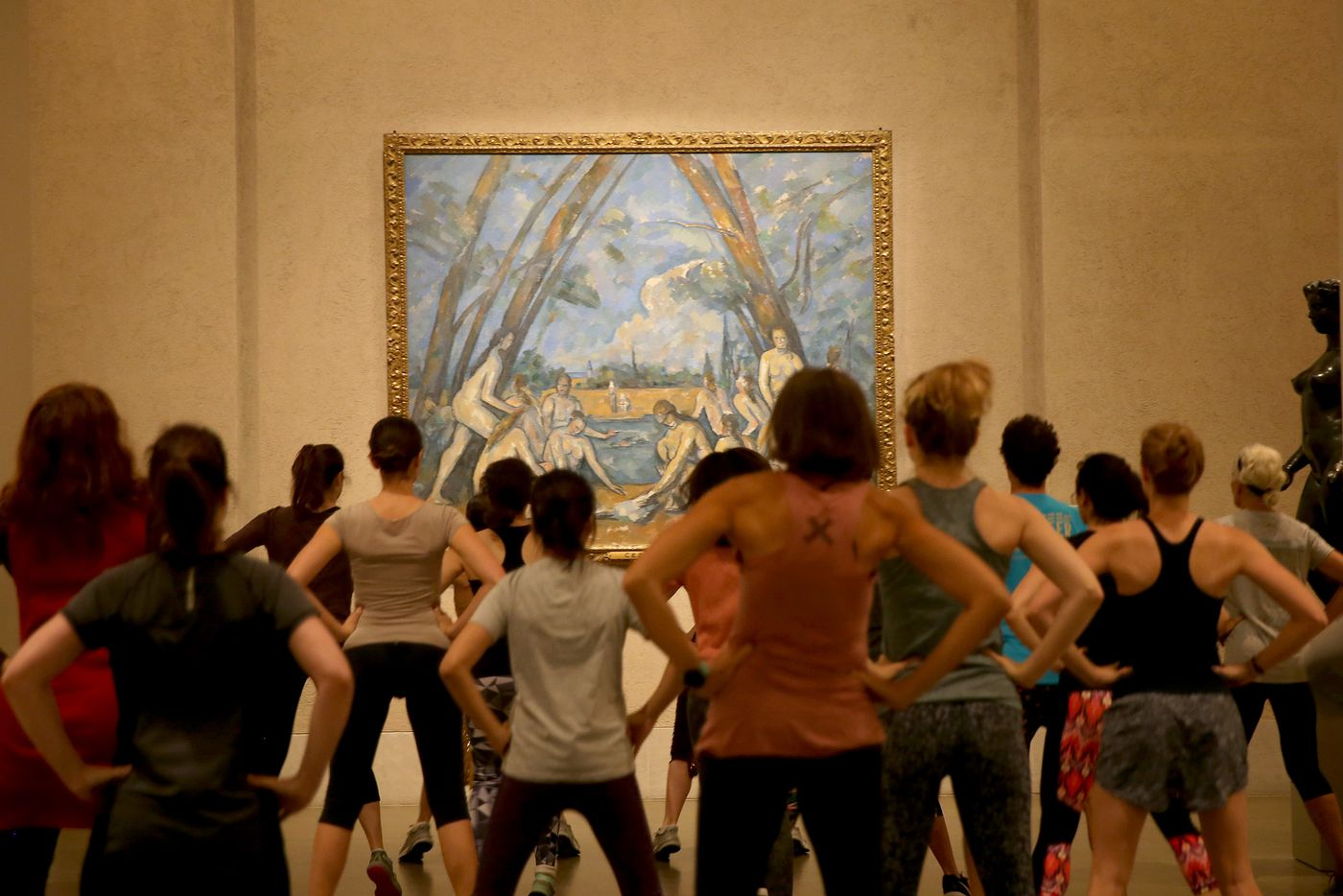 I sweated to oldies inside the Art Museum and tried not to bump into 'The Bathers'