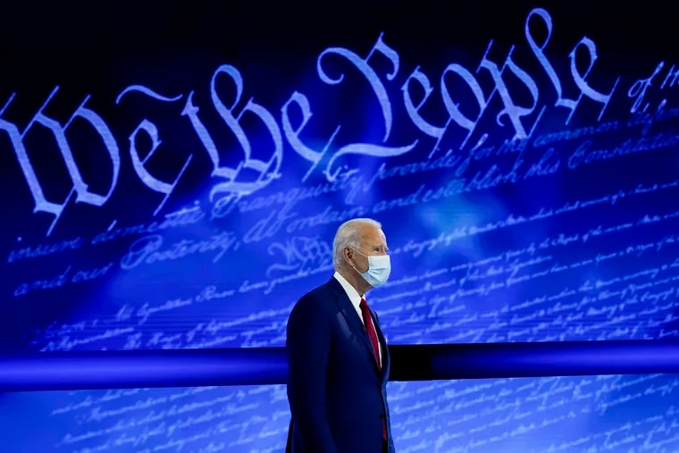 Democratic presidential nominee Joe Biden at the start of an Oct. 15 ABC News town hall at the National Constitution Center in Philadelphia.