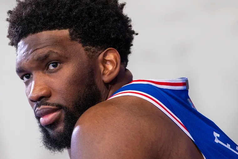 Sixers center Joel Embiid speaking during media day at the 76ers practice facility in Camden on Sept. 27.