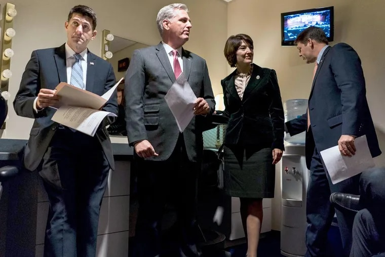 House Speaker Paul Ryan (from left), House Majority Leader Kevin McCarthy, and Rep. Cathy McMorris Rodgers hold a news conference Tuesday on the House tax plan.