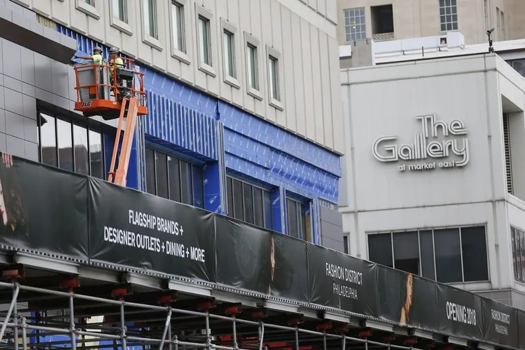 Work continues of  the former Gallery at Market East in Philadelphia to become Fashion District Philadelphia.