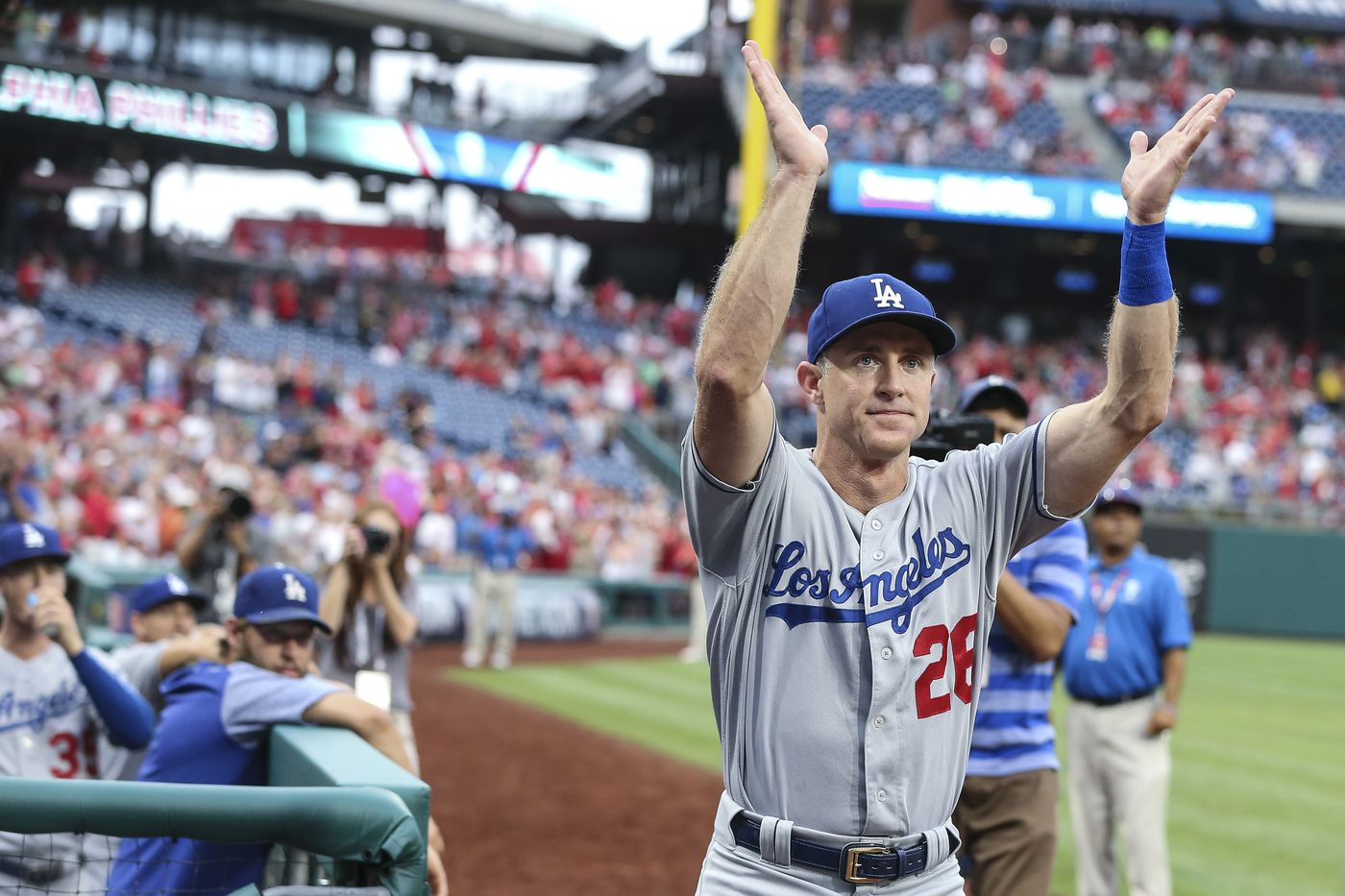 2772e70f462 Chase Utley salutes the Citizens Bank Park crowd upon receiving a standing  ovation during the pregame