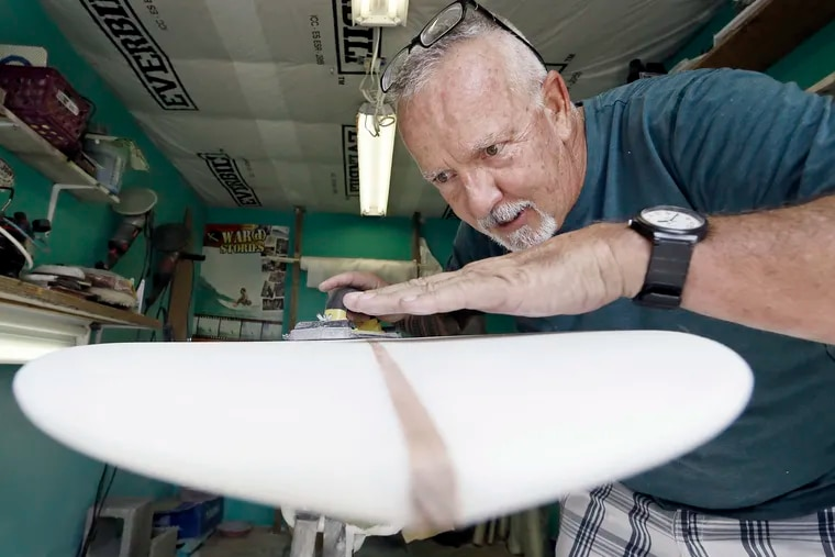 """In the """"shaping room"""" behind his Tuckerton home, Luke Alvarez explains how he crafts his surfboards on July 7, 2019."""