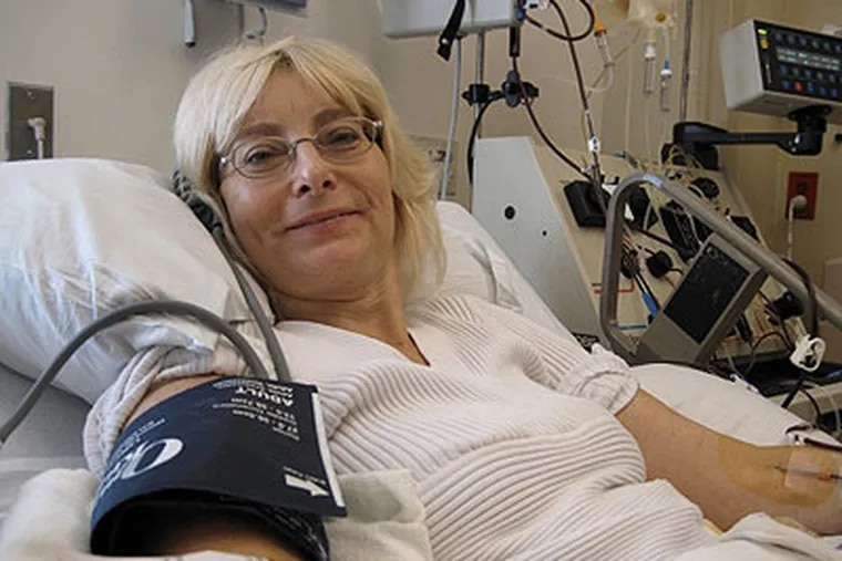 Shelley Dodt, 56, a breast cancer patient from Stuart, Fla., has blood drawn at the Hospital of the University of Pennsylvania to make a vaccine. (Photo courtesy of the Dodt family)
