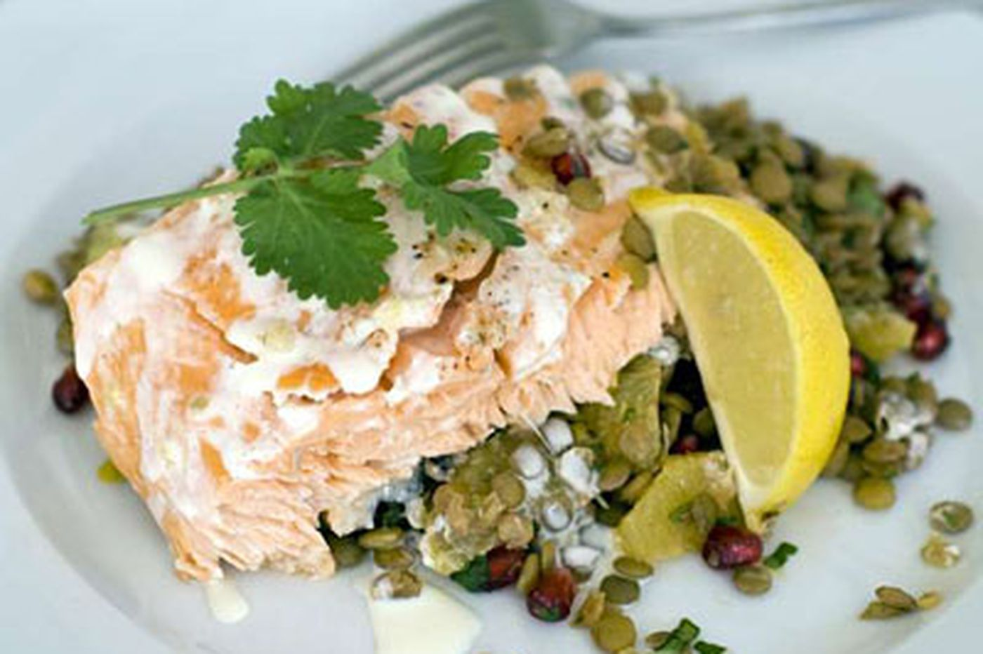 Rush Hour Gourmet: Roasted Salmon With Warm Lentil Salad