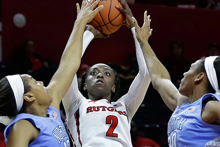 Rutgers' Kahleah Copper , a junior and Prep Charter graduate, is averaging a team-leading 16.3 points this season. The Scarlet Knights face Seton Hall on Saturday. (Associated Press)