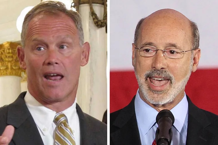 House Speaker Mike Turzai (R., Allegheny), who helps control which bills go to a floor vote, adamantly opposes Gov. Tom Wolf's (right) proposed drilling tax.
