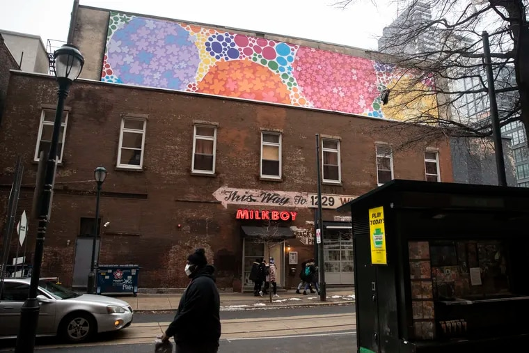 """Michele Tremblay and Polly Apfelbaum's mural """"Floating Dogwood,"""" seen near the corner of 11th and Chestnut Streets in Center City, Philadelphia, Pa. on Tuesday, February 9, 2021."""