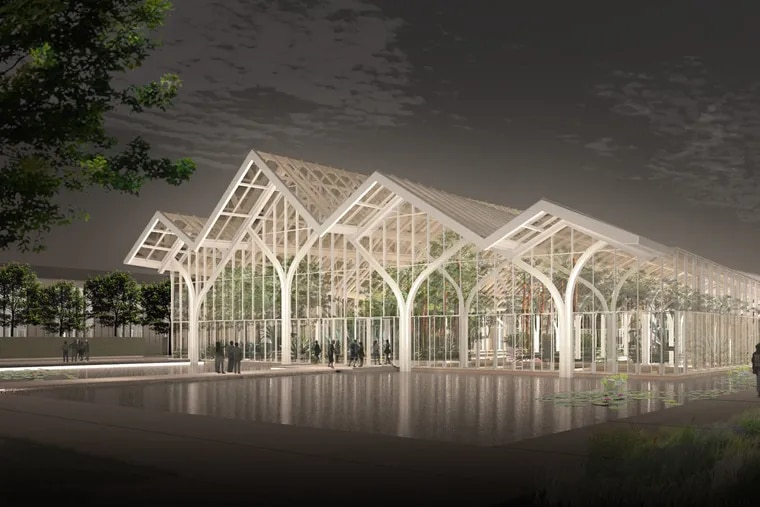 A rendering of Longwood's planned West Conservatory at night.