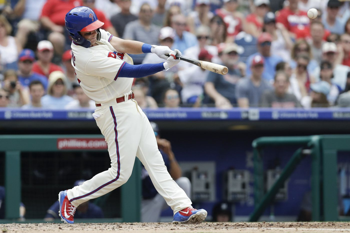 Rhys Hoskins, equipped with new helmet, homers for Phillies in return from disabled list