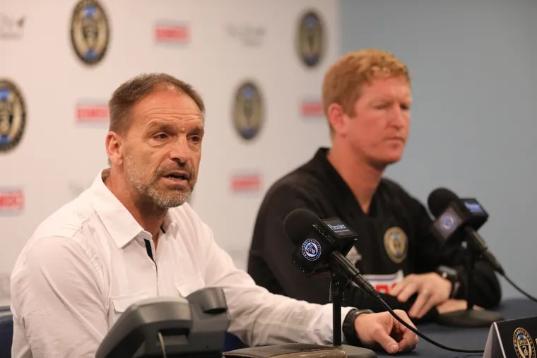 Union sporting director Ernst Tanner (left) and manager Jim Curtin (right).