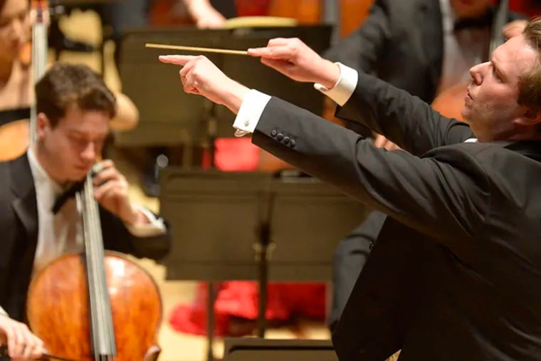 """Ignat Solzhenitsyn leads the Curtis Symphony Orchestra in a concert dedicated to benefactors Marguerite and H.F. """"Gerry"""" Lenfest."""