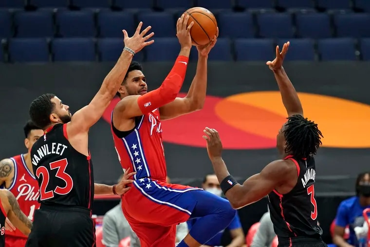 Tobias Harris going up to shoot in Sunday's game against Toronto.