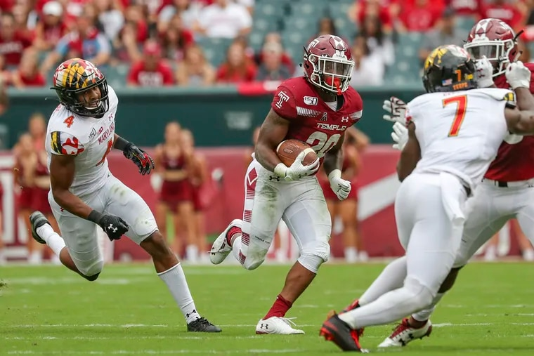 Temple running back Re'Mahn Davis carries the ball during the game against Maryland earlier this season.
