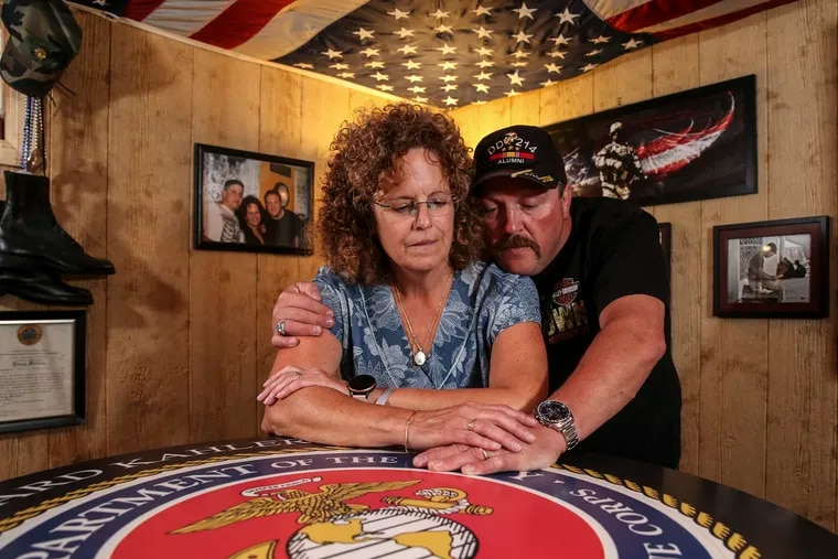 Bart and Connie Howard, whose son, Lance Cpl. Abram Howard, was killed in combat in Afghanistan in 2010, in their Montoursville, Pa., home.