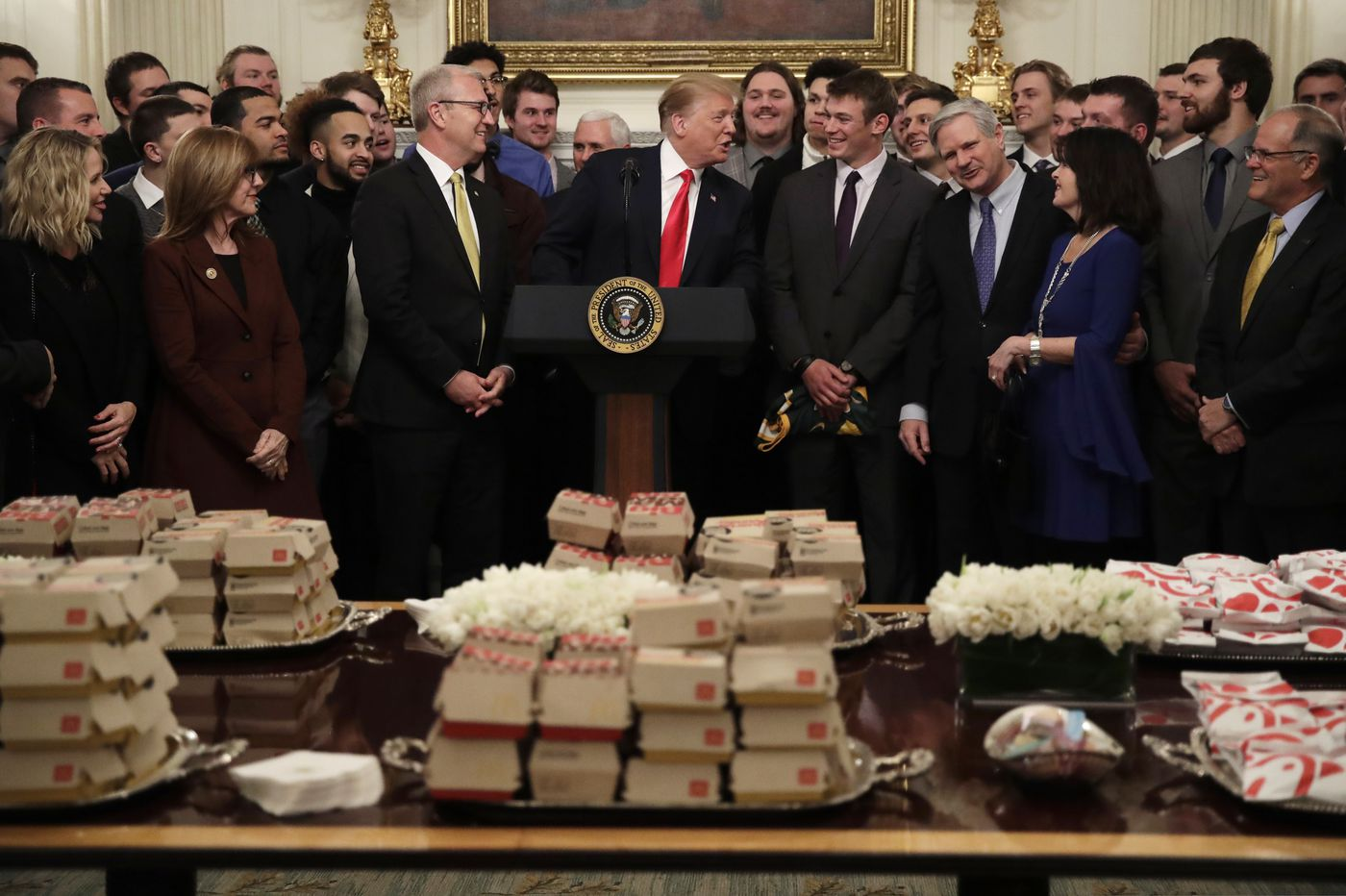 Trump serves fast food to North Dakota State football championship team