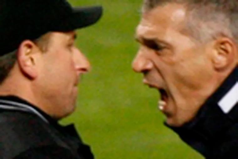 Joe Girardi was not happy with umpire Chris Guccione Thursday night.