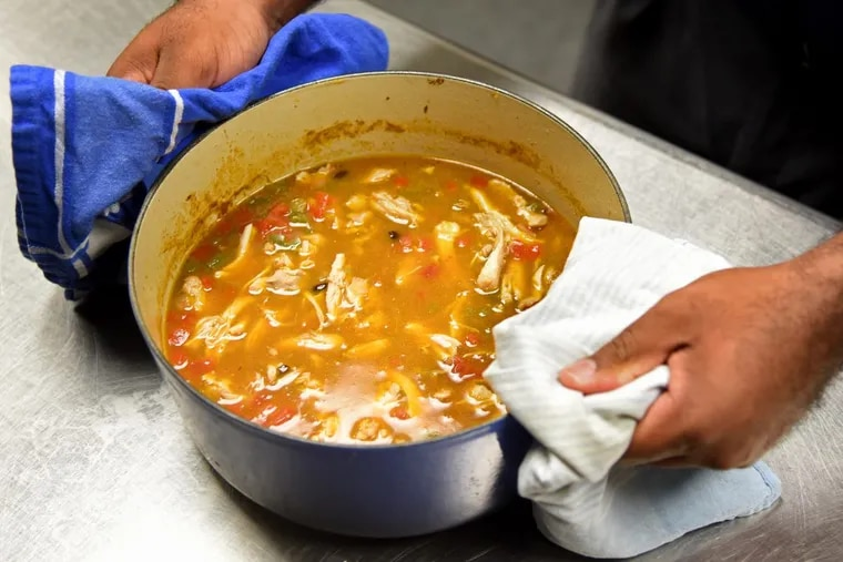 Chicken tortilla soup   prepared by students at Cristo Rey high school.