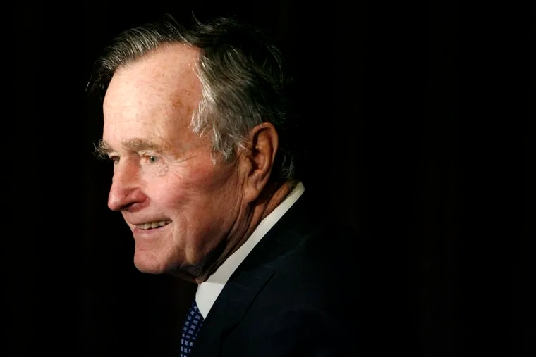 In this Feb. 6, 2007, file photo, former President George H.W. Bush arrives at the 2007 Ronald Reagan Freedom Award gala dinner held in his honor in Beverly Hills, Calif. Bush has died at age 94. Family spokesman Jim McGrath says Bush died shortly after 10 p.m. Friday, Nov. 30, 2018, about eight months after the death of his wife, Barbara Bush.