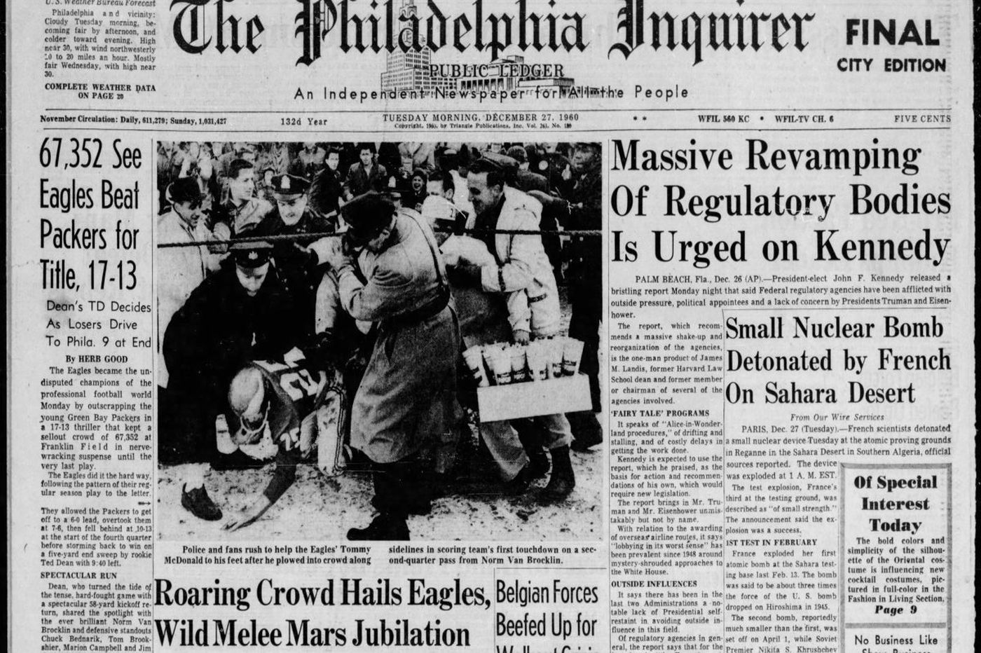 c920b64e499 Eagles' 1960 NFL title win included a fan brawl that history has forgotten  | Frank's Place