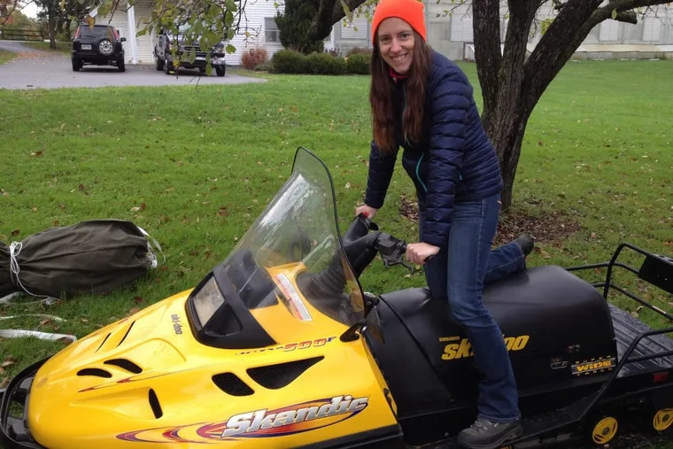 Rutgers University scientist Juliane Gross trained on a Ski-doo in Cleveland to prepare for her two-month excursion to Antarctica