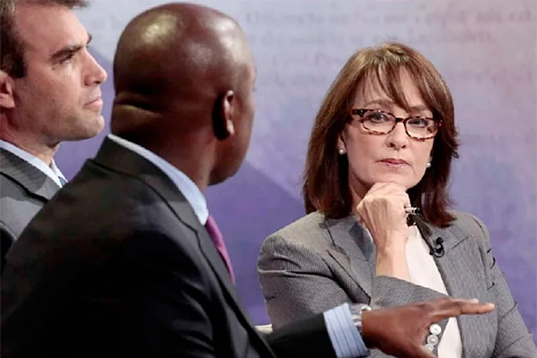 Nancy Snyderman, shown participating in a discussion with Richard Buery, front, and Jeff Edmondson in September 2012, has left NBC News as a medical correspondent. (Charles Sykes / NBC)