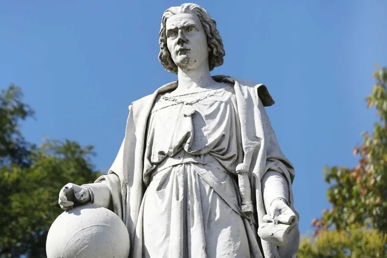 The statue of Columbus in Marconi Plaza.