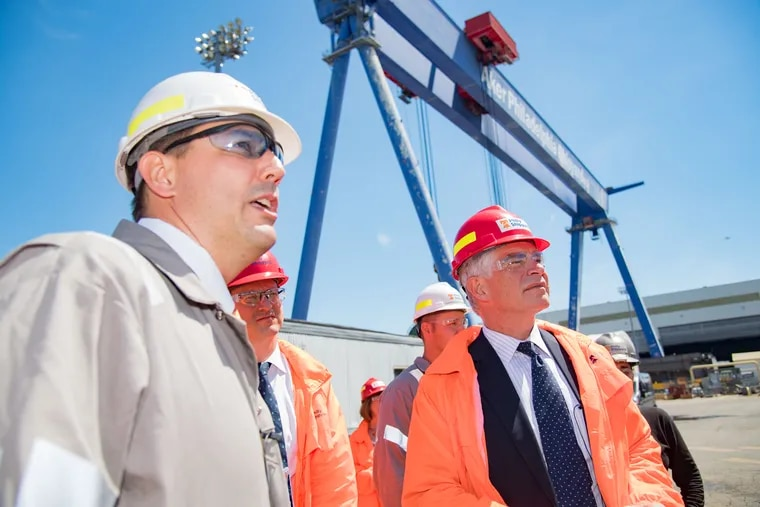 In June 2017, Patrick Harker (right), president & CEO of the Federal Reserve Bank of Philadelphia, met with workers at the Aker Philadelphia Shipyard to learn about workforce development opportunities.