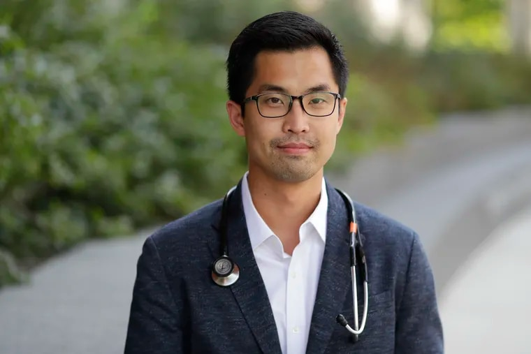 Jason Han, M.D., a cardiothoracic resident at Penn and a frequent writer for the Inquirer at the Perelman Center for Advanced Medicine in University City on Friday, October 9, 2020.