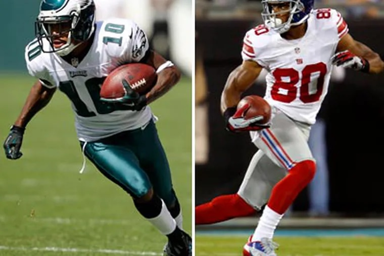 DeSean Jackson and Victor Cruz are crucial parts of their team's passing attacks. (AP file photos)