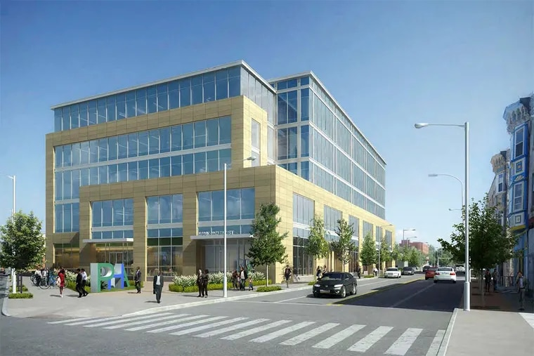 An artist's rendering of the planned PHA headquarters looking south down Ridge Avenue. Two side plazas are poorly designed open space.