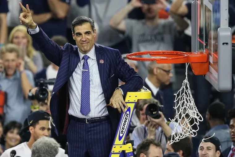 Villanova coach Jay Wright waves to fans after his team beat North Carolina to win the 2016 NCAA title.